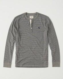 Abercrombie&Fitch 正規品 (アバクロンビー&フィッチ) Moose刺繍 ヘンリーネック Tシャツ (長袖) (ロンT) (Long-Sleeve Icon Henley) メンズ (Grey Stripe) 新品