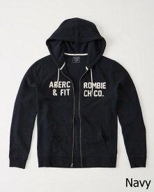 Abercrombie&Fitch (アバクロンビー&フィッチ) フルジップパーカー(フーディー) (Logo Graphic Hoodie) メンズ (Navy) 新品