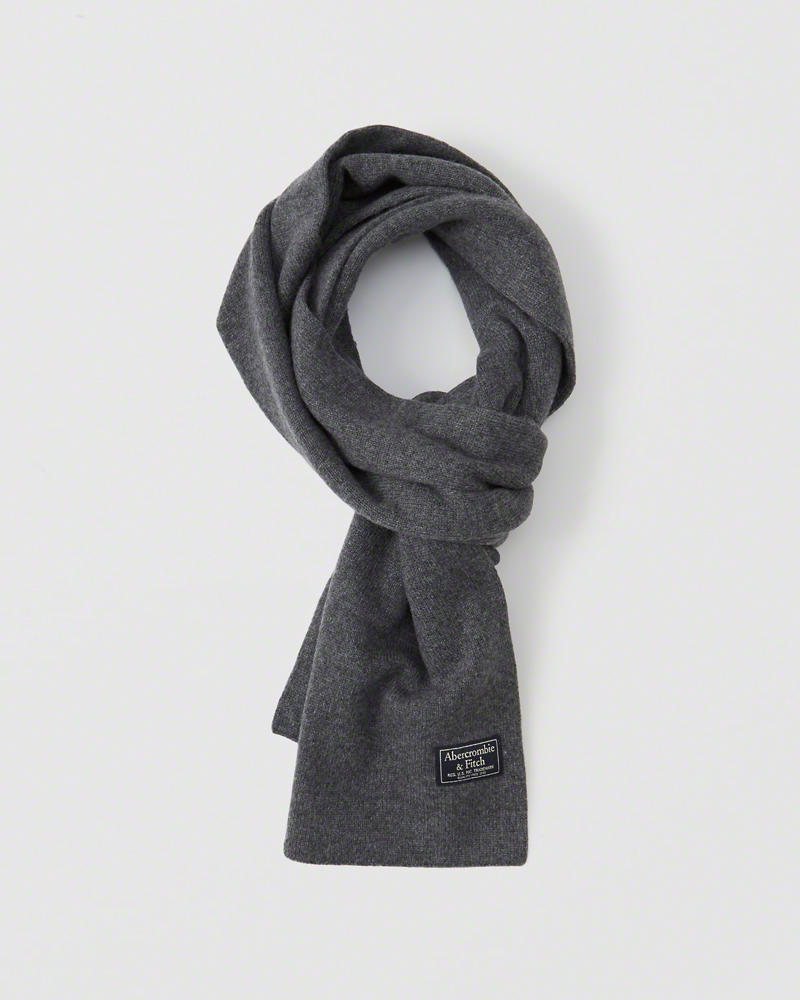 【送料無料】【新品】アバクロ【Mens】ニットマフラー/Grey【Knit Scarf】【Abercrombie&Fitch】【本物保証】【レディース】【男女兼用】