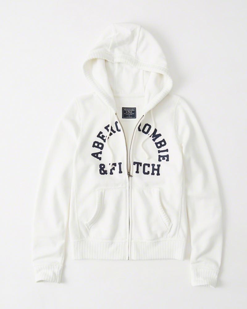 【期間限定値下げ中】【送料無料】【新品】アバクロ【Womens】アップリケフルジップパーカー/White【Logo Full-Zip Hoodie】【Abercrombie&Fitch】【本物保証】【レディース】