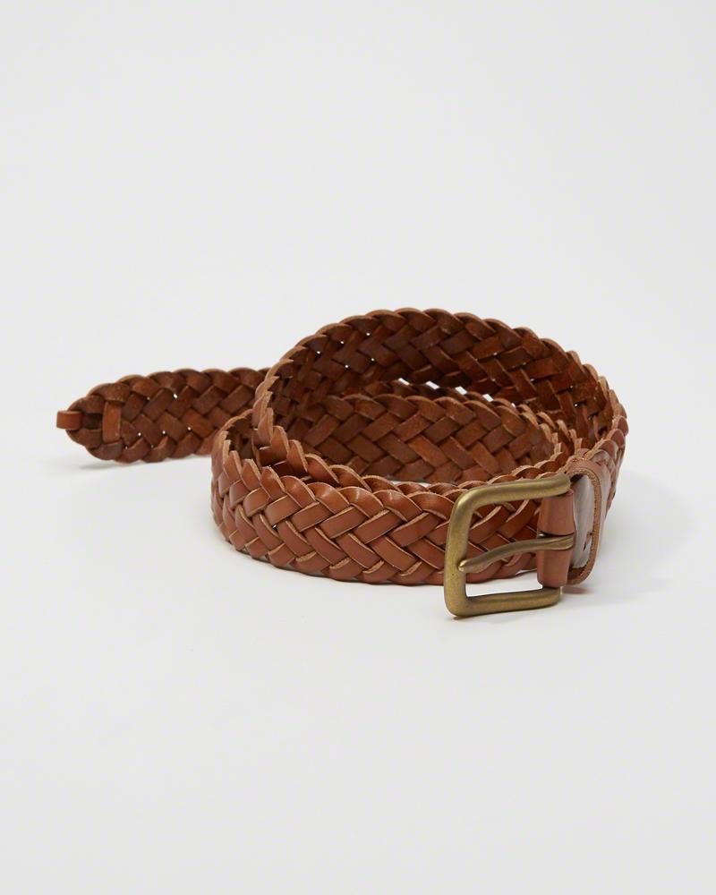 【送料無料】【新品】アバクロ【Mensメンズ】1 1/4インチ 編み上げレザーベルト/Light Brown【Braided Leather Belt】【Abercrombie&Fitch】【本物保証】
