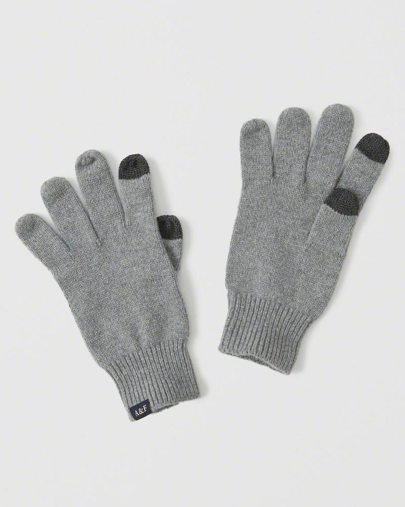 【送料無料】【新品】アバクロ【Mensメンズ】スマートフォン対応ニットグローブ/Grey【Knit Tech Gloves】【Abercrombie&Fitch】【本物保証】