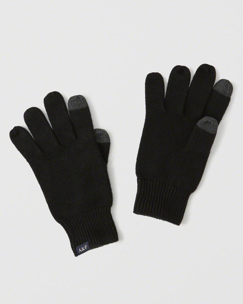 【送料無料】【新品】アバクロ【Mensメンズ】スマートフォン対応ニットグローブ/Black【Knit Tech Gloves】【Abercrombie&Fitch】【本物保証】