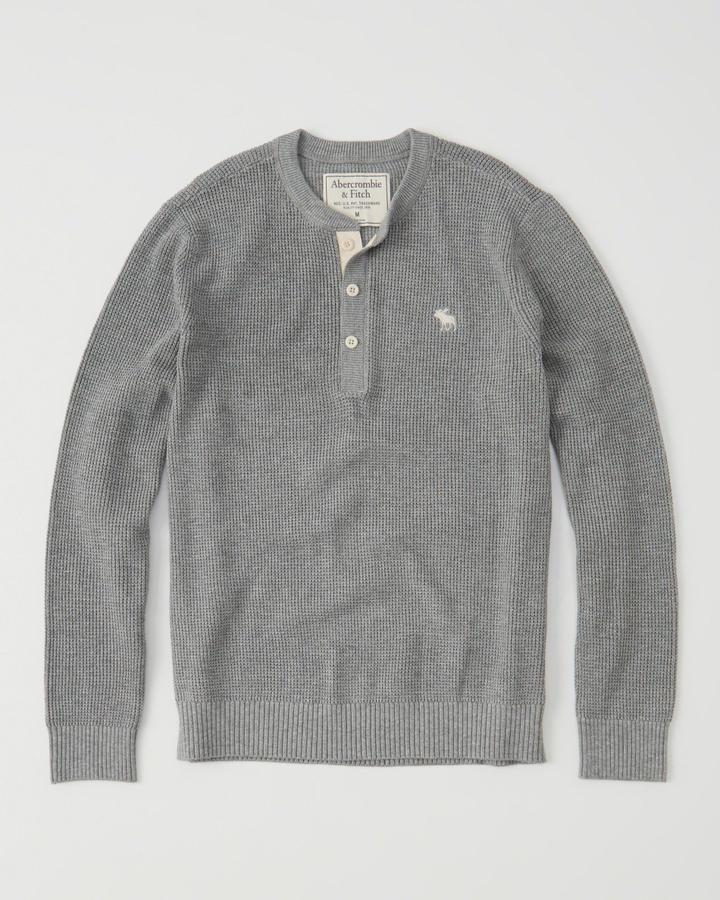 【送料無料】【新品】アバクロ【Mensメンズ】Moose刺繍ヘンリーネックセーター/Grey【Icon Henly Sweater】【Abercrombie&Fitch】【本物保証】