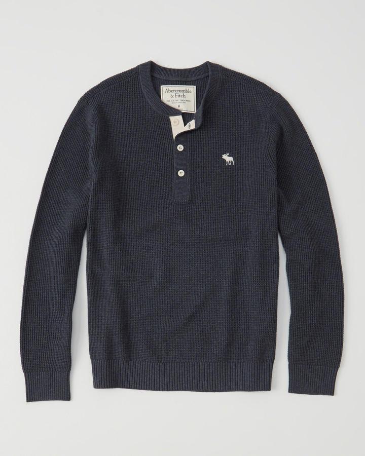 【送料無料】【新品】アバクロ【Mensメンズ】Moose刺繍ヘンリーネックセーター/Navy【Icon Henly Sweater】【Abercrombie&Fitch】【本物保証】