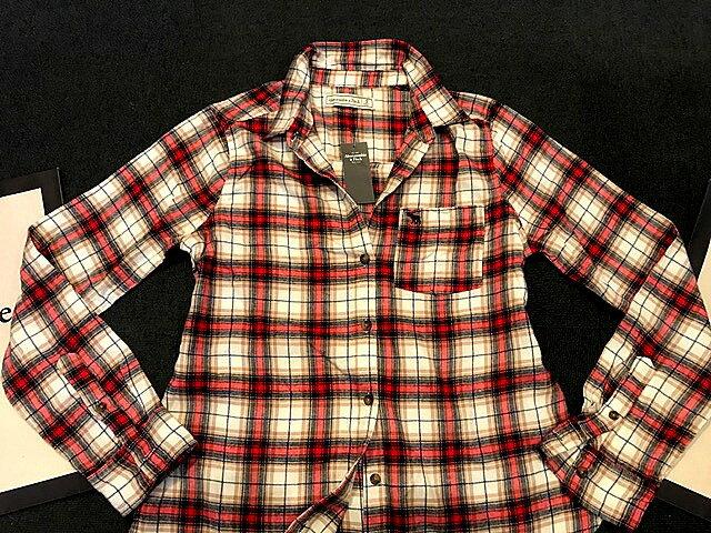 【送料無料】【新品】アバクロ【Womens】Moose刺繍チェックシャツ(長袖)/White Plaid【Abercrombie&Fitch】【本物保証】【レディース】