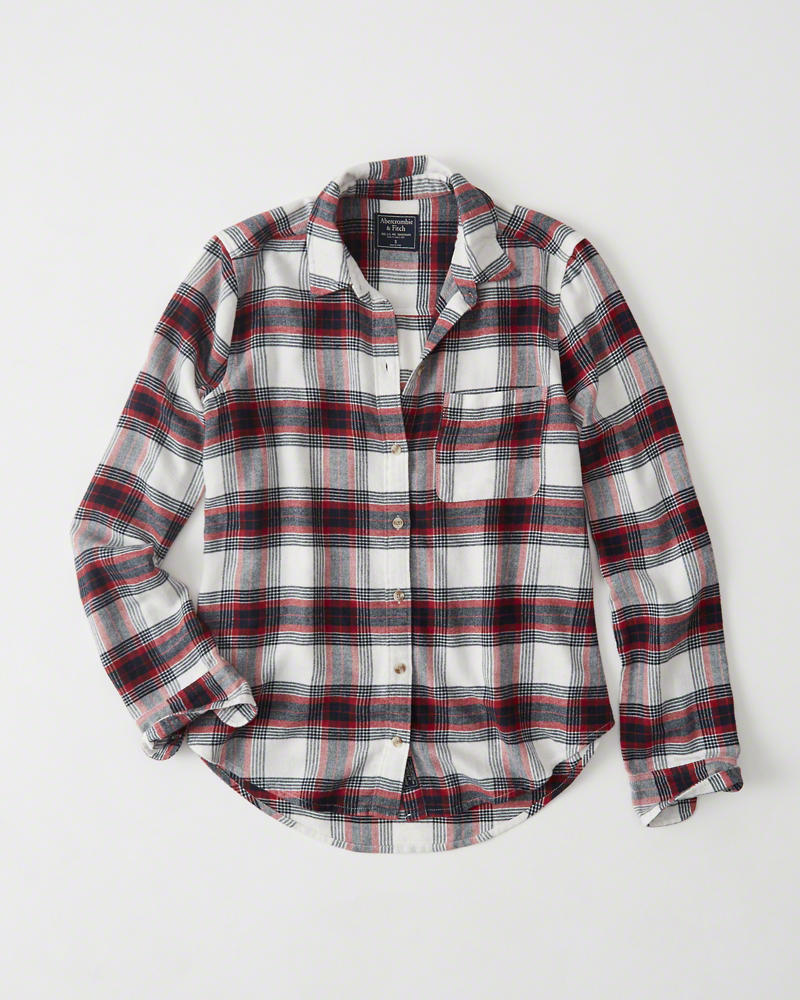 【送料無料】【新品】アバクロ【Womens】Moose刺繍チェックフランネルシャツ(長袖)/White And Red Plaid【Plaid Flannel Shirt 】【Abercrombie&Fitch】【本物保証】【レディース】