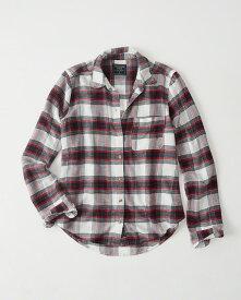 Abercrombie&Fitch (アバクロンビー&フィッチ) 正規品 Moose刺繍チェックフランネルシャツ (長袖) (Plaid Flannel Shirt) レディース (White And Red Plaid) 新品