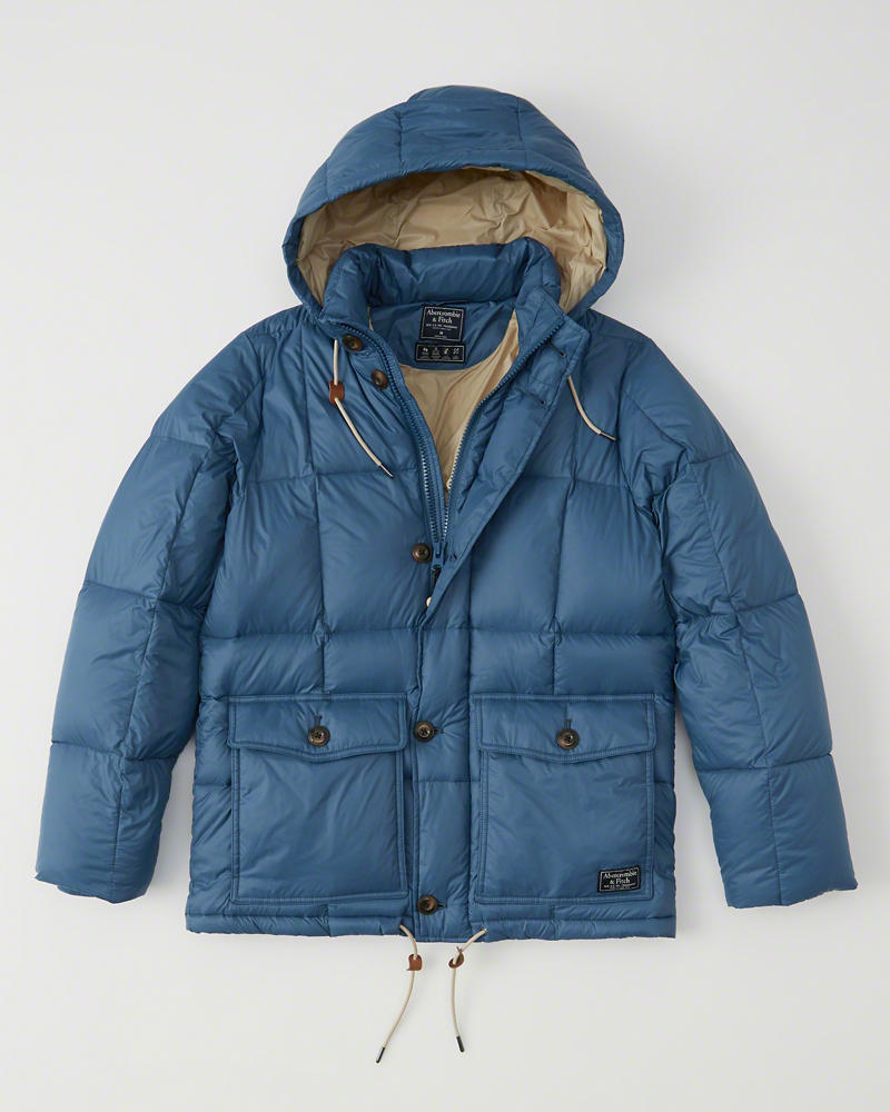 【期間限定値下げ中】【送料無料】【新品】アバクロ【Mensメンズ】フード付きダウンジャケット/Blue【Down-Filled Puffer Coat】【Abercrombie&Fitch】【本物保証】