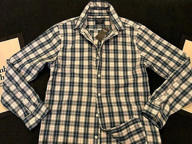 【送料無料】【新品】アバクロ【Mensメンズ】Moose刺繍チェックシャツ(長袖)/White Plaid【Plaid Shirt】【Abercrombie&Fitch】【本物保証】