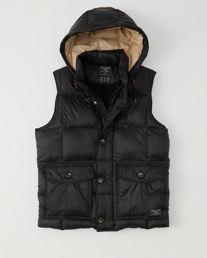 【期間限定値下げ中】【送料無料】【新品】アバクロ【Mensメンズ】フード取り外し可能ダウンベスト/Black【Down-Filled Puffer Vest 】【Abercrombie&Fitch】【本物保証】