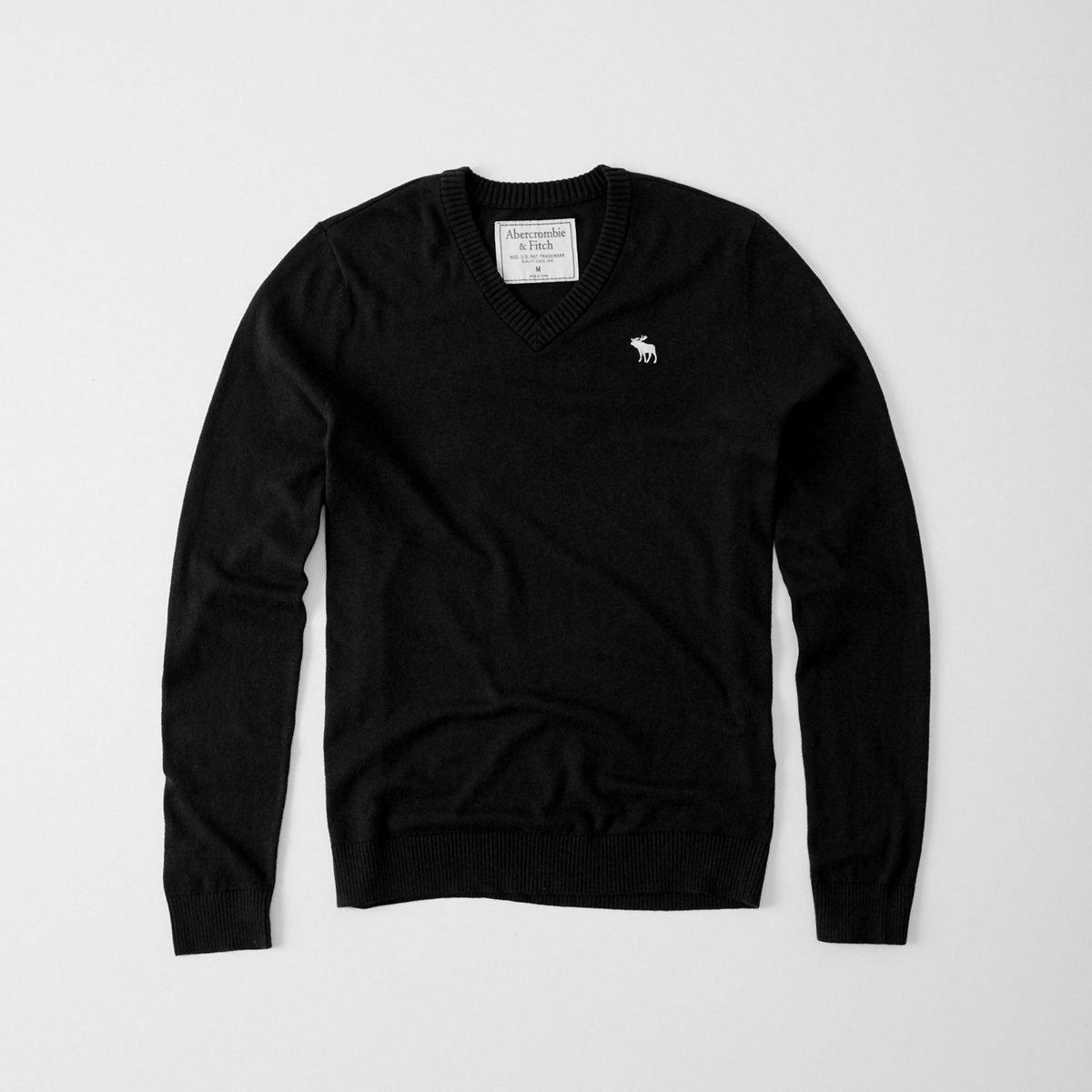 【送料無料】【新品】アバクロ【Mensメンズ】コットンVネックセーター/Black【Icon Cotton V-Neck Sweater】【Abercrombie&Fitch】【本物保証】