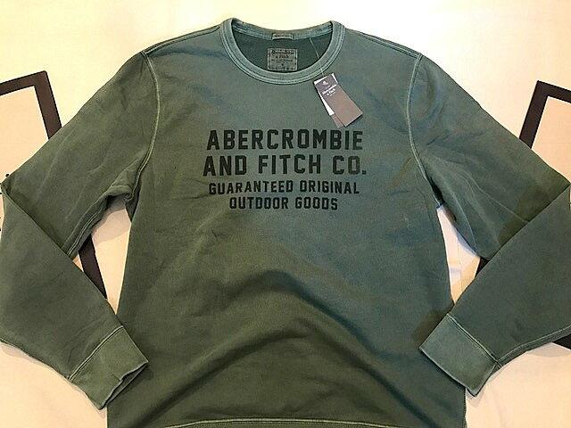 【送料無料】【新品】アバクロ【Mensメンズ】ロゴプリント長袖スエット/Green【Logo Snap Henley】【Abercrombie&Fitch】【本物保証】