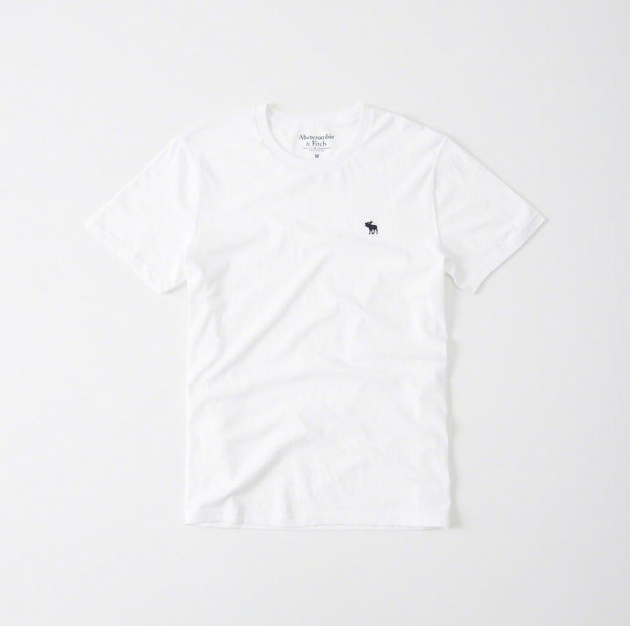 【送料無料】【新品】アバクロ【Mensメンズ】クルーネックTシャツ(半袖)/White【Icon Crew Tee】【Abercrombie&Fitch】【本物保証】