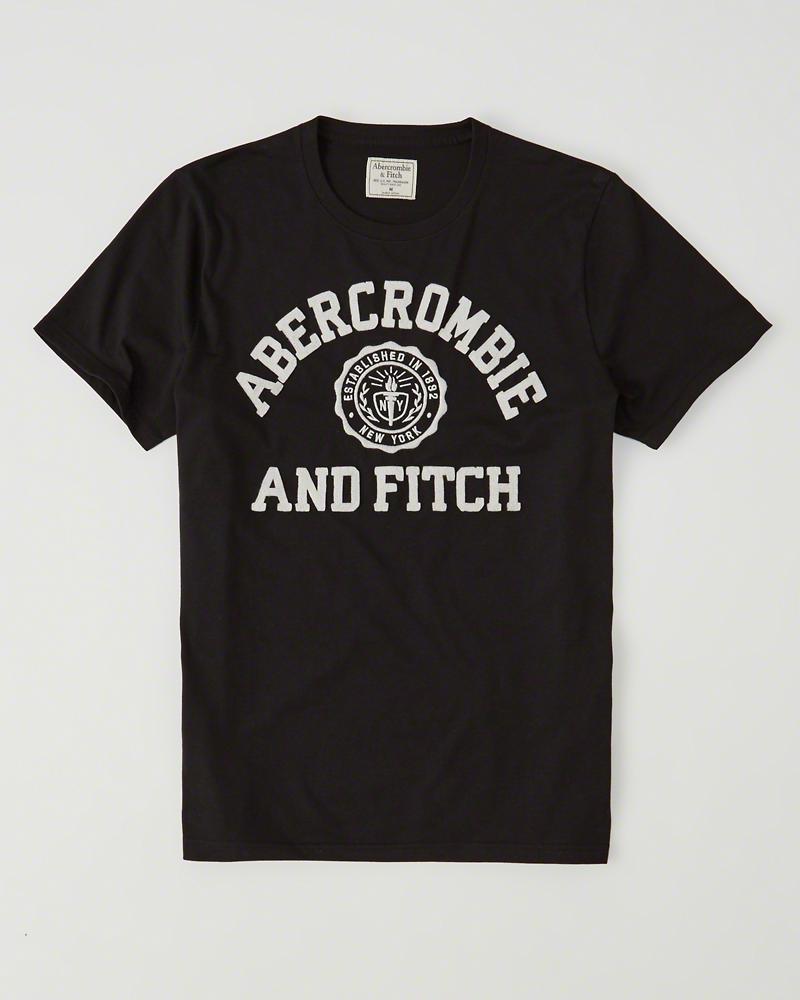 【送料無料】【新品】アバクロ【Mensメンズ】アップリケTシャツ(半袖)/Black【Logo Graphic Tee】【Graphic Tees】【Abercrombie&Fitch】【本物保証】