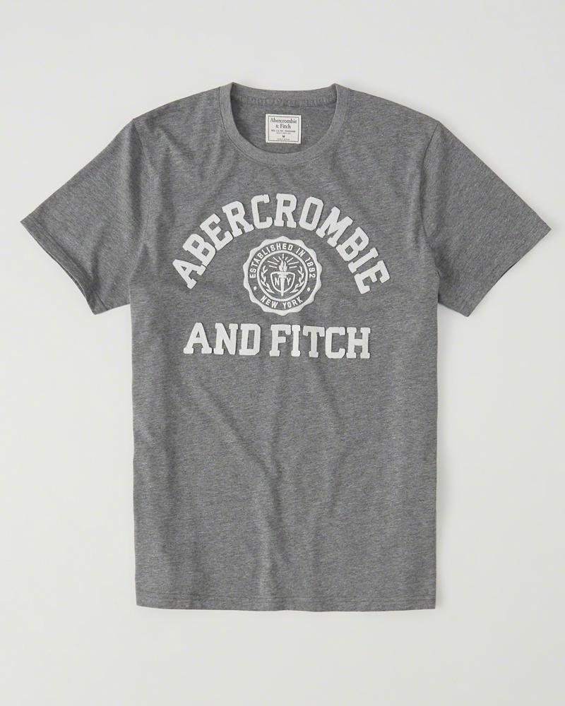 【送料無料】【新品】アバクロ【Mensメンズ】アップリケTシャツ(半袖)/Solid Grey【Logo Graphic Tee】【Graphic Tees】【Abercrombie&Fitch】【本物保証】