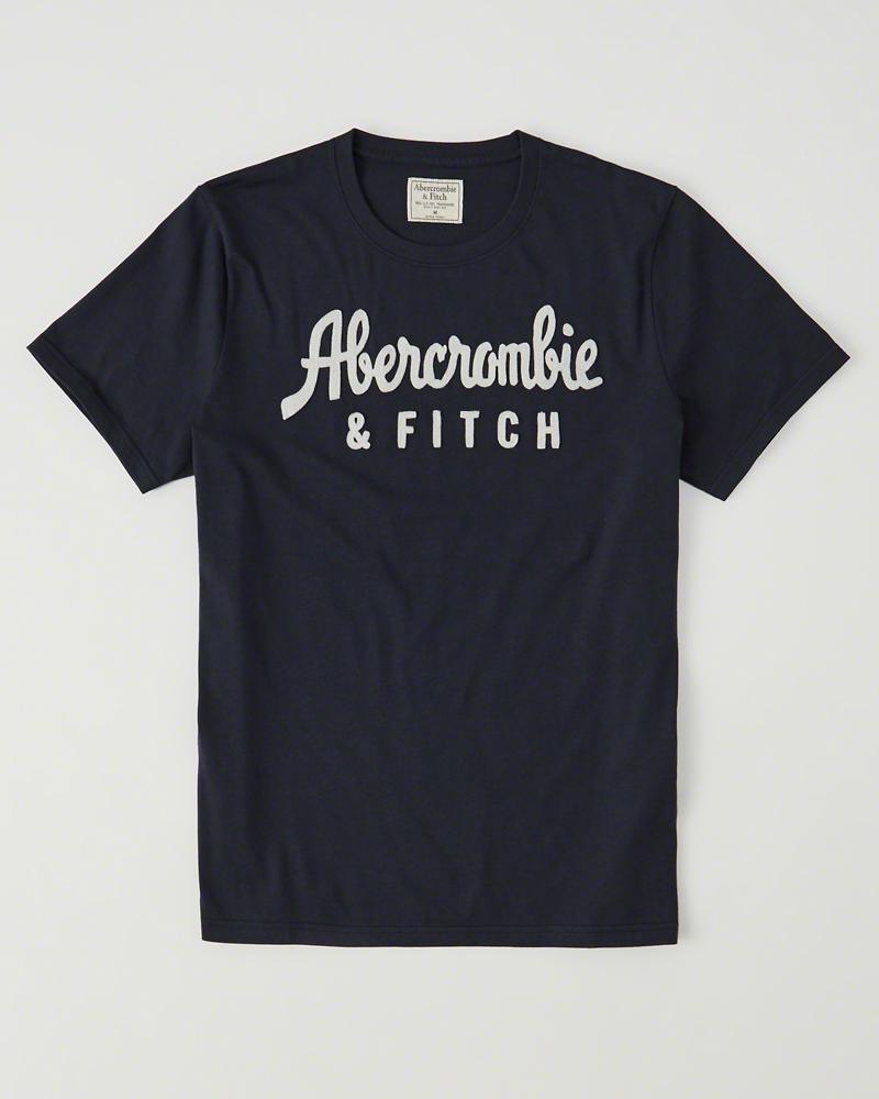 【送料無料】【新品】アバクロ【Mensメンズ】アップリケTシャツ(半袖)/Navy【Logo Graphic Tee】【Graphic Tees】【Abercrombie&Fitch】【本物保証】