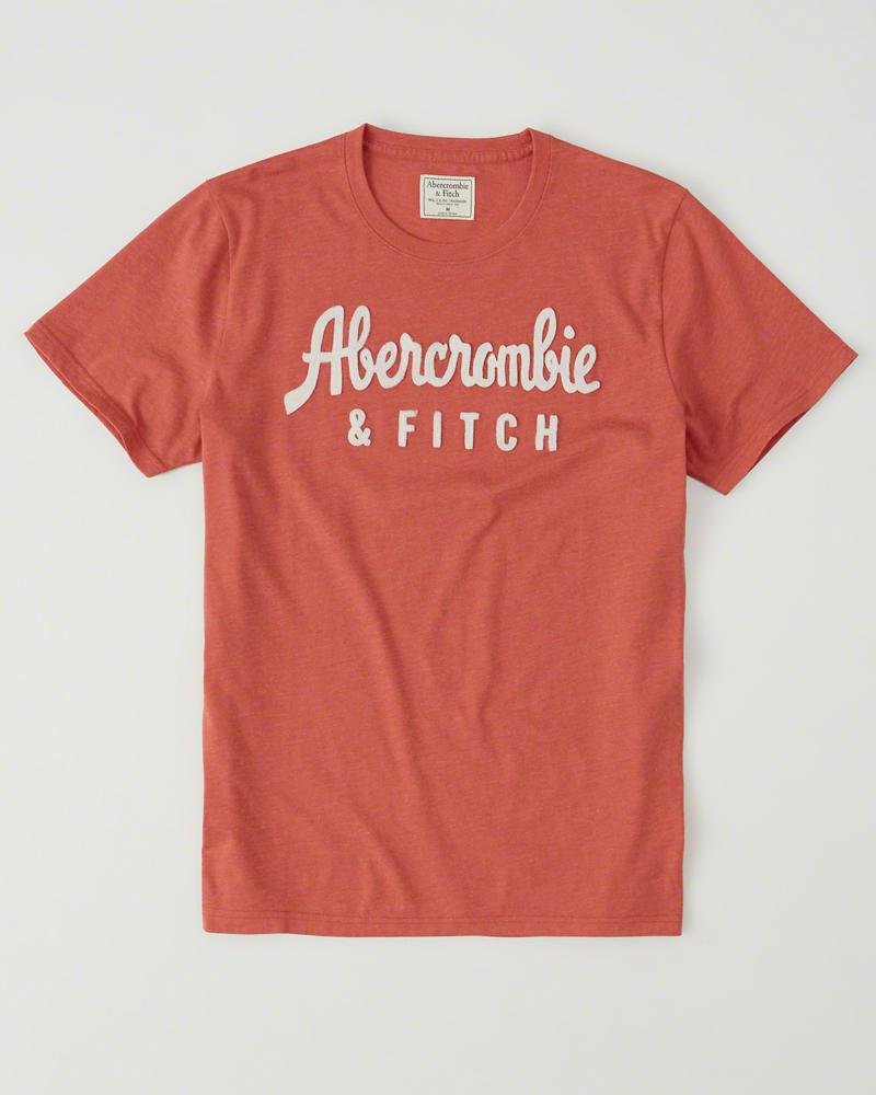 【送料無料】【新品】アバクロ【Mensメンズ】アップリケTシャツ(半袖)/Red【Logo Graphic Tee】【Graphic Tees】【Abercrombie&Fitch】【本物保証】