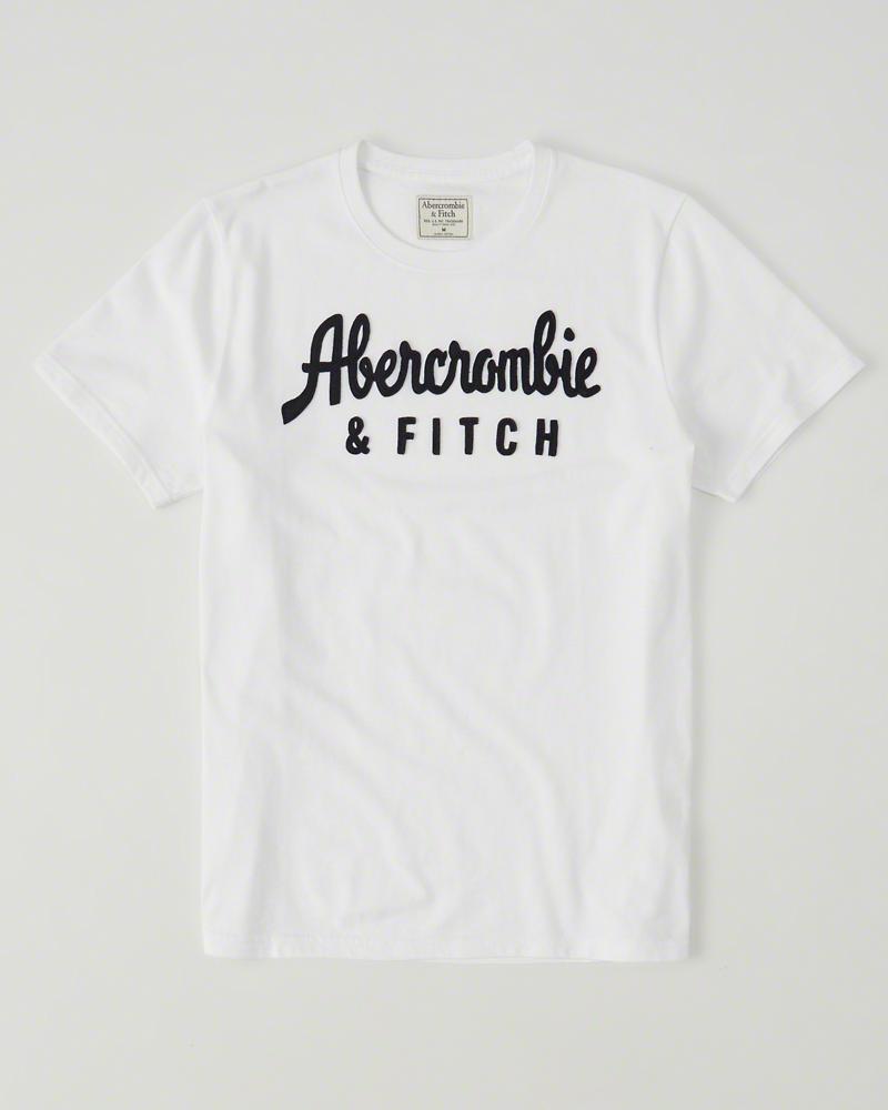 【送料無料】【新品】アバクロ【Mensメンズ】アップリケTシャツ(半袖)/White【Logo Graphic Tee】【Graphic Tees】【Abercrombie&Fitch】【本物保証】