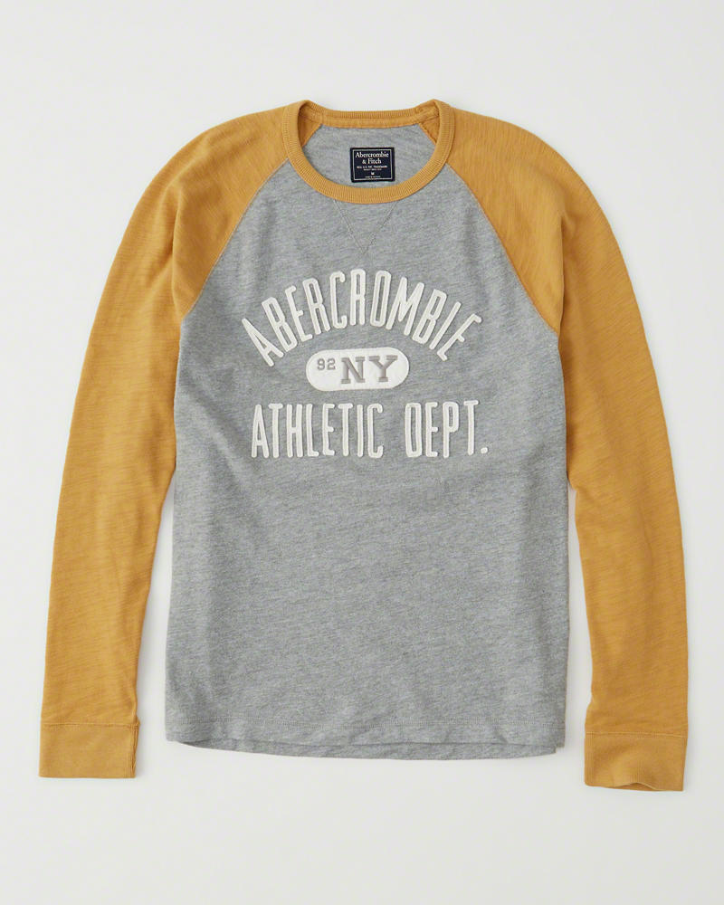 【送料無料】【新品】アバクロ【Mensメンズ】アップリケ長袖Tシャツ(ロンT)/Yellow【Long-Sleeve Logo Crew Tee】【Abercrombie&Fitch】【本物保証】