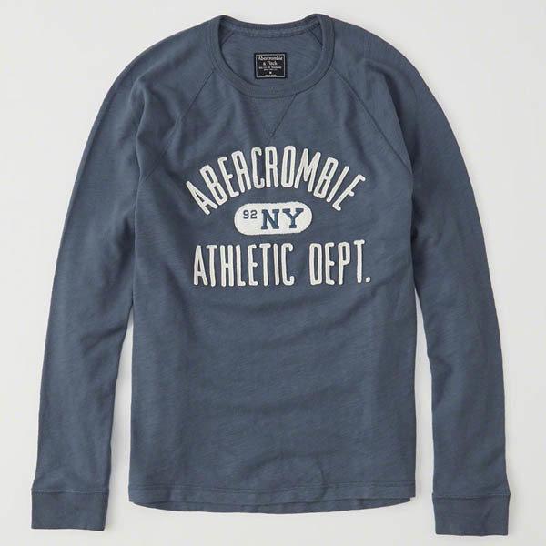 【送料無料】【新品】アバクロ【Mensメンズ】アップリケ長袖Tシャツ(ロンT)/Blue【Long-Sleeve Logo Crew Tee】【Abercrombie&Fitch】【本物保証】