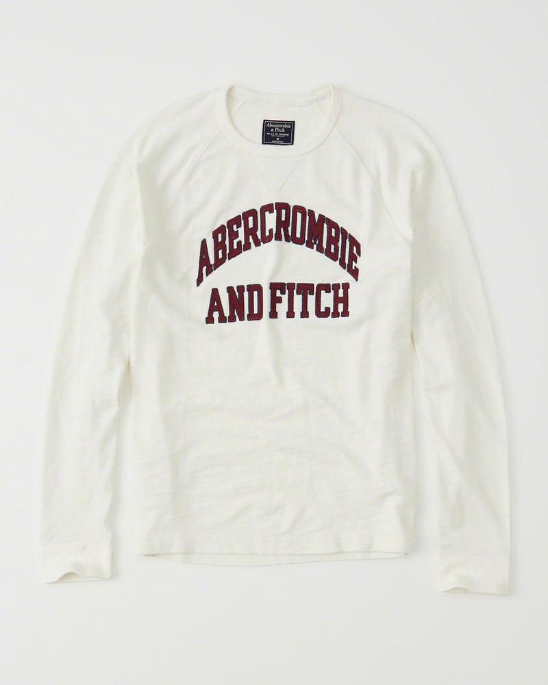 【送料無料】【新品】アバクロ【Mensメンズ】アップリケ長袖Tシャツ(ロンT)/Cream【Long-Sleeve Logo Crew Tee】【Abercrombie&Fitch】【本物保証】