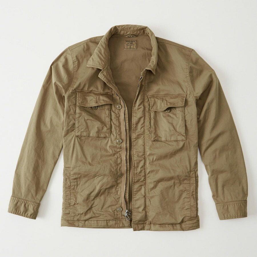 【送料無料】【新品】アバクロ【Mensメンズ】裏地付きガーメントダイ 2ウエイジッパーミリタリーシャツジャケット/Khaki【Garment Dye Zip-Up Shirt Jacket】【Abercrombie&Fitch】【本物保証】