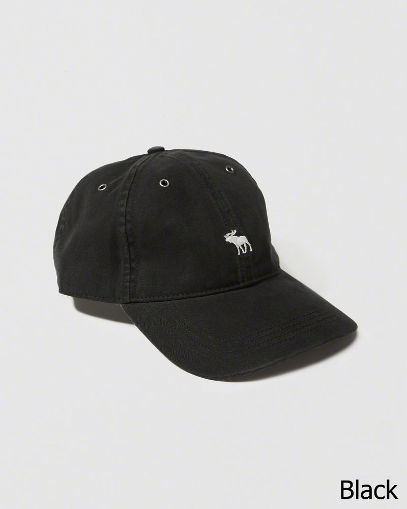 【送料無料】【新品】アバクロ【Mensメンズ】Moose刺繍 ブラッシュドツイルハット/Black【Brushed Twill Hat】【Abercrombie&Fitch】【本物保証】