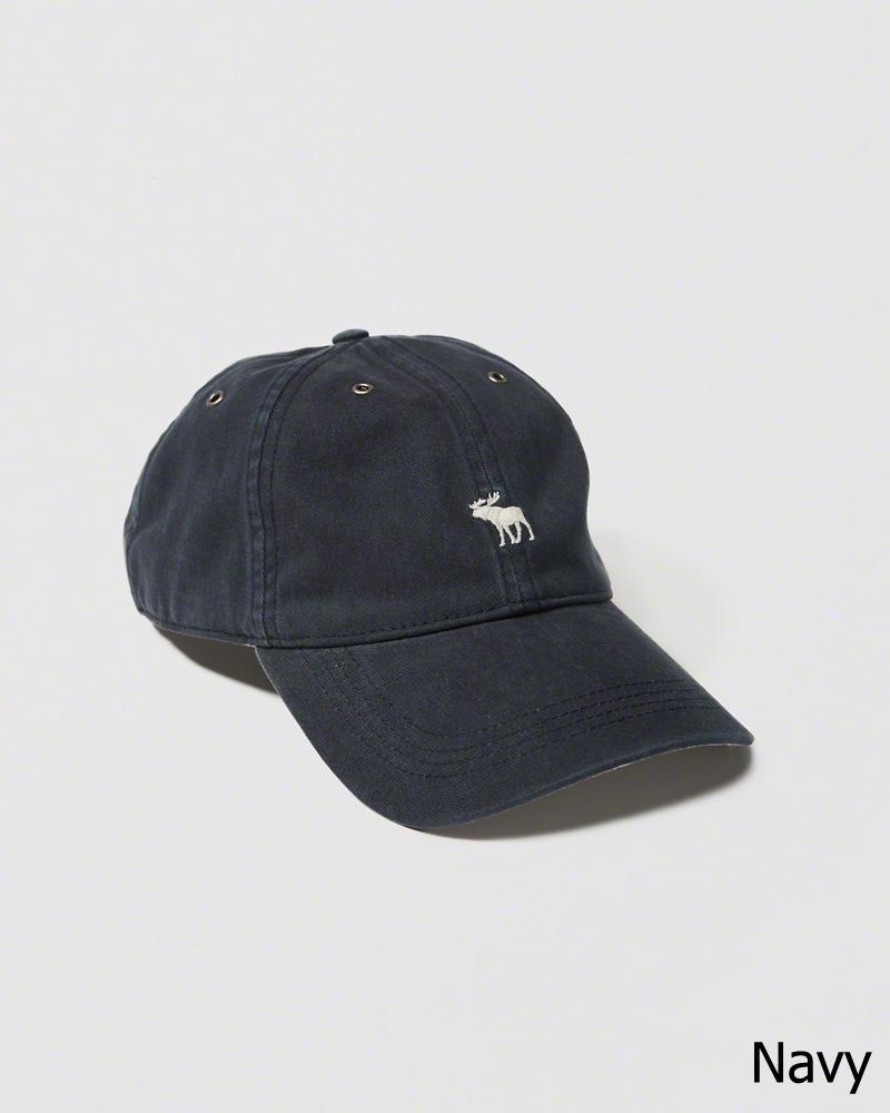 【送料無料】【新品】アバクロ【Mensメンズ】Moose刺繍 ブラッシュドツイルハット/Navy【Brushed Twill Hat】【Abercrombie&Fitch】【本物保証】