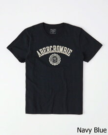 Abercrombie&Fitch 正規品 (アバクロンビー&フィッチ) アップリケ Tシャツ (Applique Logo Graphic Tee) メンズ (Navy Blue) 新品