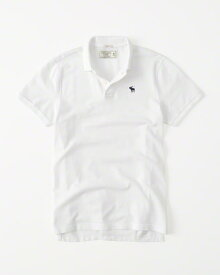 Abercrombie&Fitch (アバクロンビー&フィッチ) 正規品 ストレッチ 鹿の子半袖ポロシャツ (Icon Strech Polo) メンズ (White) 新品