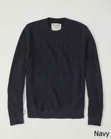 Abercrombie&Fitch (アバクロンビー&フィッチ) Moose刺繍ミドルゲージ クルーネックニット(セーター) (Crew Sweater) メンズ (Navy) 新品