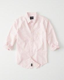 Abercrombie&Fitch (アバクロンビー&フィッチ) 限定 ダメージ加工 オックスフォードシャツ(長袖)(Destroyed Oxford Shirt) メンズ (Pink) 新品