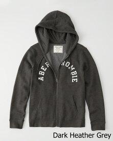 Abercrombie&Fitch (アバクロンビー&フィッチ) アップリケ フルジップパーカー(フーディー)(Logo Zip-Up Hoodie) メンズ (Dark Grey) 新品