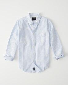 Abercrombie&Fitch (アバクロンビー&フィッチ) 限定 ダメージ加工 オックスフォードシャツ(長袖)(Destroyed Oxford Shirt) メンズ (Blue Stripe) 新品