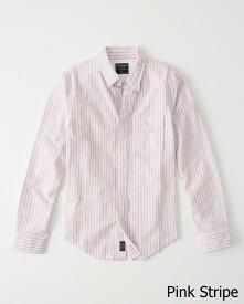 Abercrombie&Fitch (アバクロンビー&フィッチ) 限定 ダメージ加工 オックスフォードシャツ(長袖)(Destroyed Oxford Shirt) メンズ (Pink Stripe) 新品