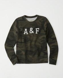 Abercrombie&Fitch (アバクロンビー&フィッチ) 正規品 ロゴアップリケスエット (長袖) (Logo Crew) レディース (Olive Green Camo) 新品