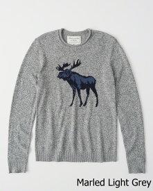 Abercrombie&Fitch (アバクロンビー&フィッチ) ムース柄ニット(セーター) (Marled Icon Sweater) メンズ (marled light grey) 新品