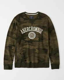 Abercrombie&Fitch 正規品 (アバクロンビー&フィッチ) ロゴアップリケスエット (Graphic Logo Sweatshirt) メンズ (Olive Green Camo) 新品
