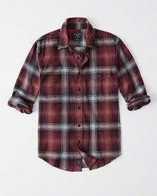 Abercrombie&Fitch (アバクロンビー&フィッチ) ストレッチ ボタンダウン チェックシャツ(長袖)(Stretch Plaid Shirt) メンズ (Burgundy Plaid) 新品