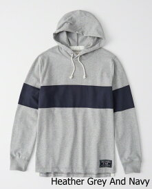 Abercrombie&Fitch (アバクロンビー&フィッチ) ラグビー フーディー (Rugby Hoodie) メンズ (Heather Grey And Navy) 新品