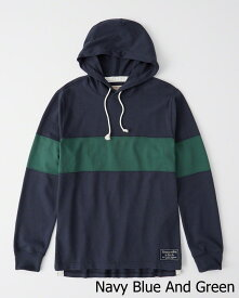 Abercrombie&Fitch (アバクロンビー&フィッチ) ラグビー フーディー (Rugby Hoodie) メンズ (Navy Blue And Green) 新品