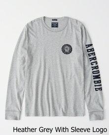 Abercrombie&Fitch (アバクロンビー&フィッチ) アップリケ 長袖Tシャツ (ロンT) (Long-Sleeve Applique Tee) メンズ (Heather Grey With Sleeve Logo) 新品