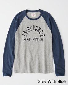 【新品】アバクロ【Mensメンズ】アップリケ長袖Tシャツ(ロンT)/Grey With Blue【Applique Logo Raglan Tee】【Abercrombie&Fitch】【本物保証】