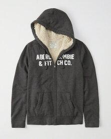 Abercrombie&Fitch (アバクロンビー&フィッチ) 裏ボア ロゴ フルジップパーカー(フーディー)(Sherpa-Lined Full-Zip Hoodie) メンズ (Dark Grey) 新品