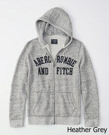Abercrombie&Fitch (アバクロンビー&フィッチ) アップリケ フルジップ パーカー(フーディー) (Graphic Full-Zip Hoodie) メンズ (Heather Grey) 新品