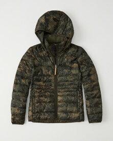 【新品】アバクロ【Womens】フード取り外し可能 ライトウェイト パファージャケット /Green Camo【Lightweight Puffer Jacket】【本物保証】【レディース】
