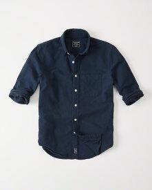 【新品】アバクロ【Mensメンズ】オックスフォードシャツ(長袖)/Navy【Oxford Shirt】【Abercrombie&Fitch】【本物保証】