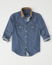 Abercrombie&Fitch (アバクロンビー&フィッチ) コーデュロイカラー デニムシャツ(長袖)(Corduroy Collar Denim Shirt) メンズ (Indigo) 新品