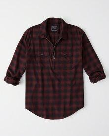 Abercrombie&Fitch (アバクロンビー&フィッチ) ストレッチ ハーフジップ チェックシャツ(長袖)(Half-Zip Shirt) メンズ (Red Plaid) 新品